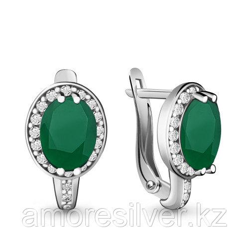 Серьги из серебра с агатом зелёным и фианитом  Aquamarine 4413709А.5