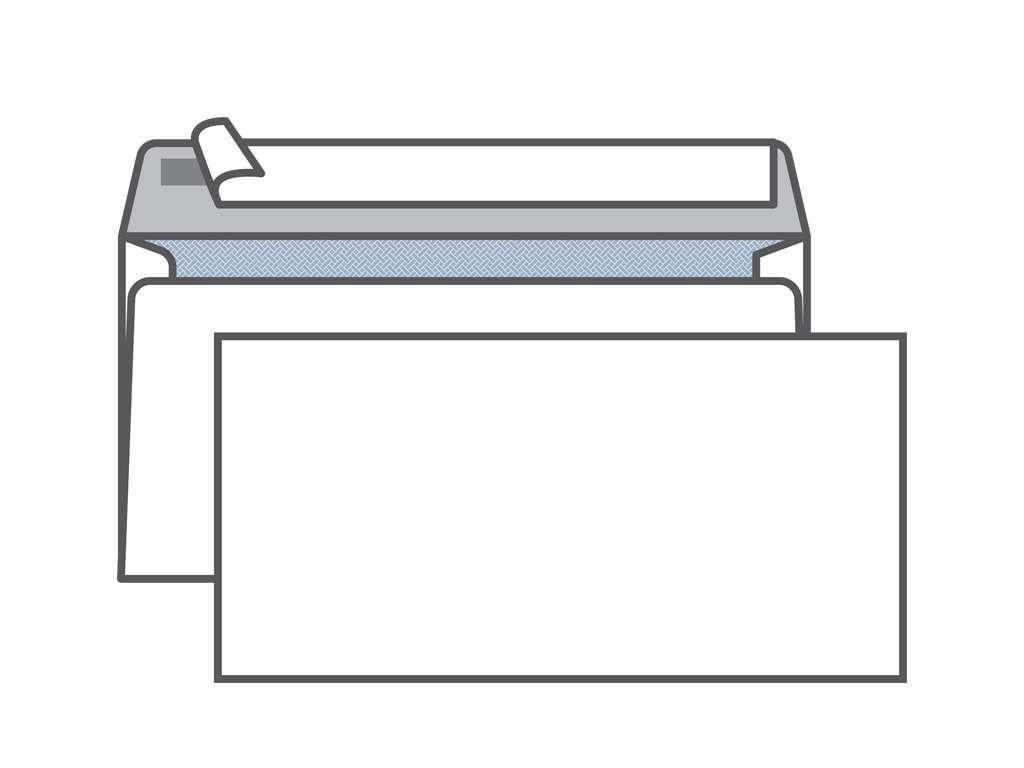 Конверт Е65 KurtStrip (110х220 мм) белый, удаляемая лента, внутренняя запечатка