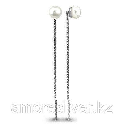 Серьги из серебра с жемчугом   Aquamarine 41346
