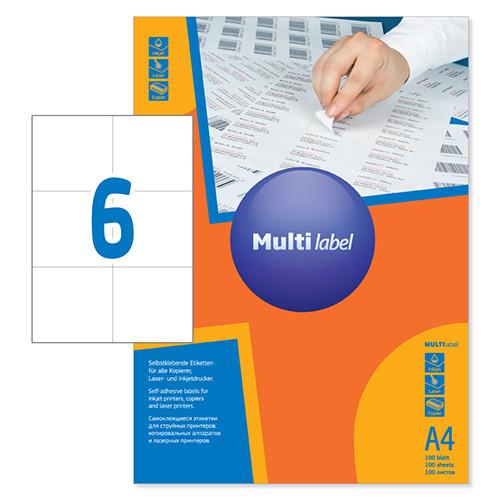 Этикетки самоклеящиеся Multilabel, А4, 105 х 99 мм., 6 шт/лист, 100 л.