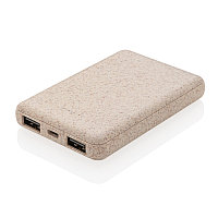 Карманный внешний аккумулятор Wheat Straw, 5000 mAh, коричневый, Длина 9,4 см., ширина 6,4 см., высота 1,5
