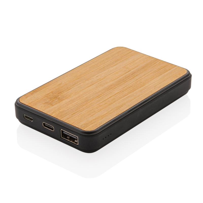 Бамбуковый карманный внешний аккумулятор Fashion, 5000 mAh, черный, Длина 10,1 см., ширина 6,5 см., высота 1,5