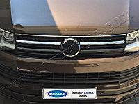 """Накладки на решетку радиатора, нерж., 2 части (ван с окнами) VW T6 Transporter """"15-"""