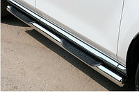 Защита порогов труба d70 с накладками нержавейка короткая база FIAT DOBLO с 2010