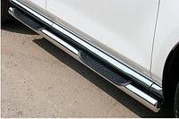 Защита порогов труба d70 с накладками нержавейка длинная база VW KRAFTER-SPRINTER 2010