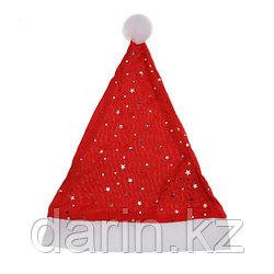 Новогодняя шапка колпак со звездочками велюр