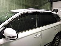 Дефлекторы боковых окон с нержавеющим молдингом, OEM Style Mitsubishi Pajero 2006-