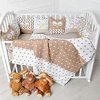 Комплект в кроватку универсальный Совы 6 предметов кофейный 10519-6