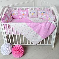 Комплект в кроватку универсальный Совы 6 предметов розовый 10519-6