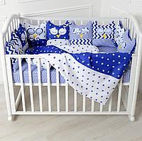 Комплект в кроватку универсальный Совы 6 предметов синий 10519-6