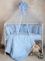 Комплект для детской кроватки Карета сатин голубой Р 2-502