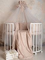 Комплект для детской кроватки Карета сатин жемчужный Р 2-502