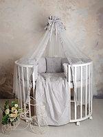 Комплект для детской кроватки Карета сатин светло-серый Р 2-502