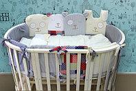 Комплект в овальную кроватку-трансформер Степашка 6 предметов серый 45-6, фото 1