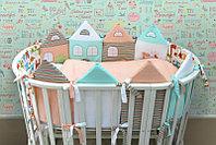 Комплект в кроватку универсальный Волшебные домики 6 предметов оранжевый 16-6
