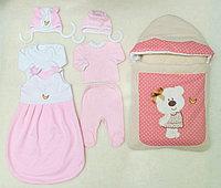 Комплект на выписку Мишки-Шалунишки 8 предметов розовый