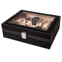 Шкатулка для хранения 6 наручных часов и аксессуаров (Черный)