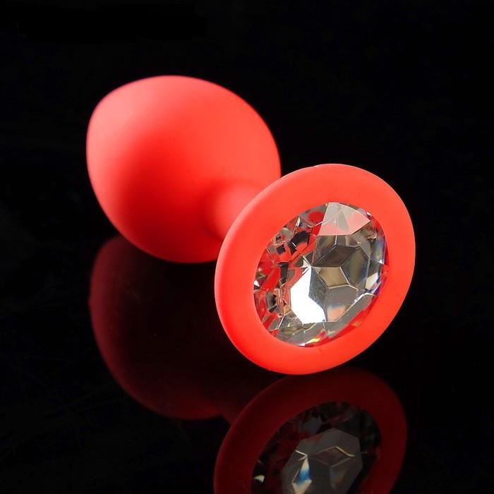 Анальная втулка силиконовая, красная, с прозрачным кристаллом