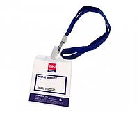Бейдж вертикальный DELI, 70x105 мм, пластиковый, на шнурке, синий