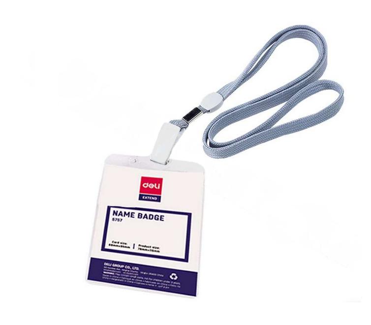 Бейдж вертикальный DELI, 70x105 мм, пластиковый, на шнурке, серый