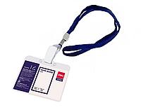 Бейдж горизонтальный DELI, 105x70 мм, пластиковый, на шнурке, синий