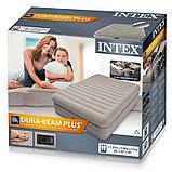 Высокая двуспальная надувная кровать Интекс 203*152*51cм, фото 2
