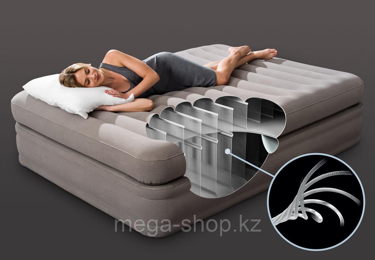Высокая двуспальная надувная кровать Интекс 203*152*51cм