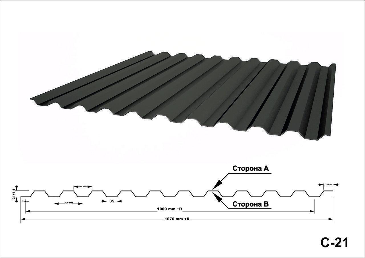 Профнастил С21 оцинкованный с полимерным покрытием глянец RAL9003