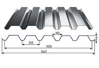 Профнастил НС-44 оцинкованный с полимерным покрытием глянец RAL3005