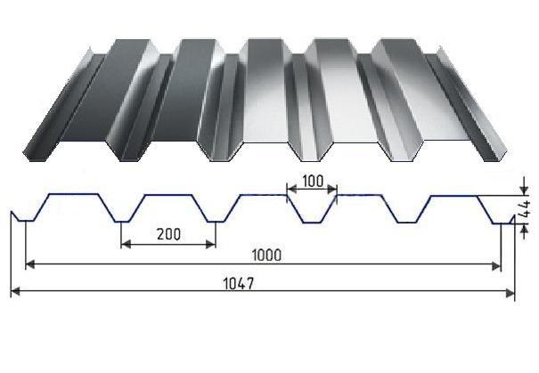 Профнастил НС-44 оцинкованный с полимерным покрытием глянец RAL5002