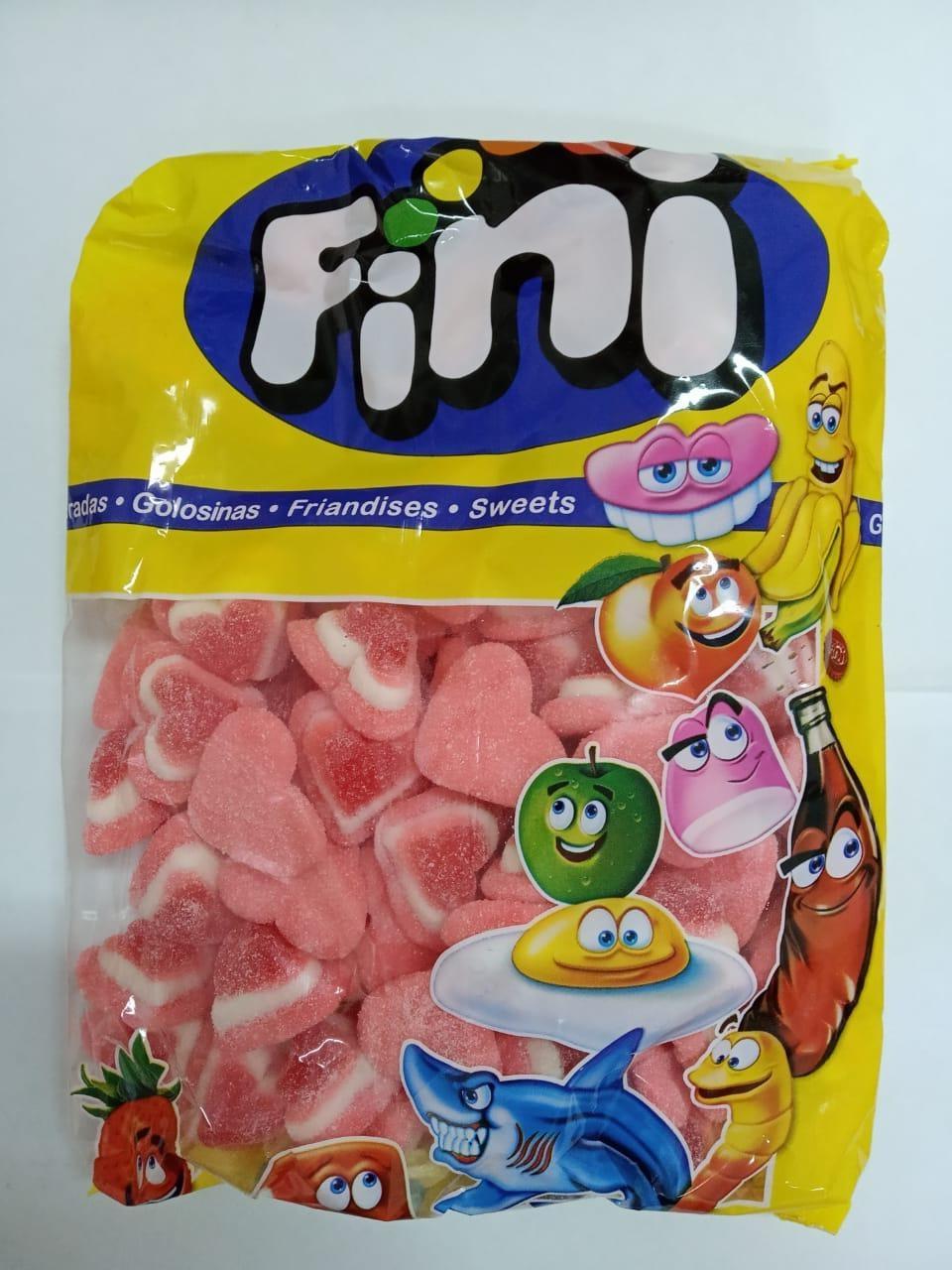 """Жевательный мармелад """"Сердечки 3-цветные в сахаре"""" FINI Испания 1кг"""
