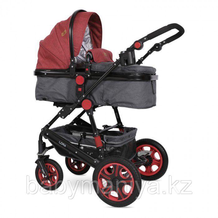 Коляска-трансформер 2 в 1 Lorelli Lora + Сумка для мамы Черный-красный\Black&Red 1800