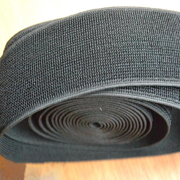 Лента петельная эластичная 50 мм цвет черный (25 метров/рулон)