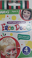 Краски для лица, аквагрим для детей и взрослых, 4 цвета