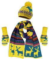 Теплый комплект из шапки, шарфа и варежек с флисом (Черно-белый) Желтый