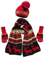 Теплый комплект из шапки, шарфа и варежек с флисом (Черно-белый) Красный