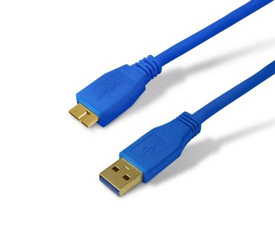 SHIP US003-1.2B Переходник MICRO-B USB на USB 3.0, Блистер, 1.2 м, Синий