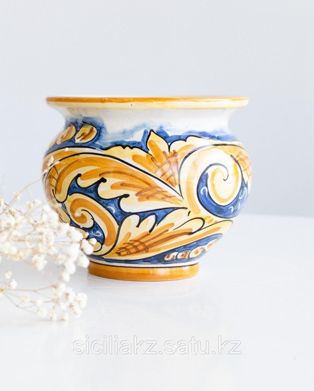 Ваза-горшок(круглая) ручной работы, керамика. Италия - фото 1
