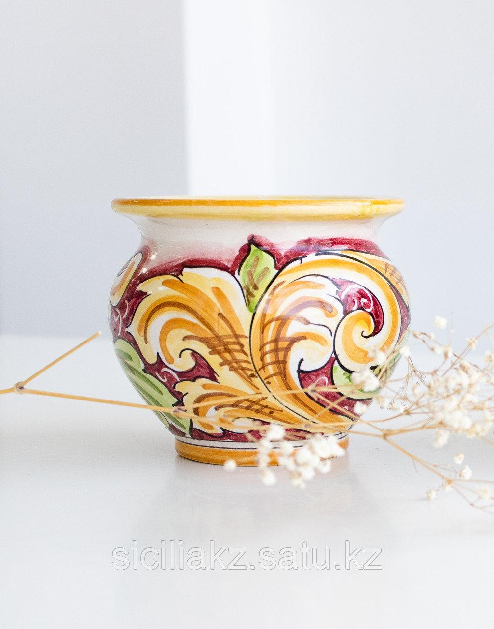 Ваза-горшок(круглая) ручной работы, керамика. Италия - фото 2