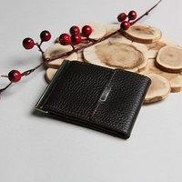 Зажим для купюр, отдел для монет, карт, флотер, цвет коричневый