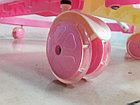 Розовые ходунки Машинка на гелевых колесах и задним толкателем, фото 2