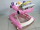 Розовые ходунки Машинка на гелевых колесах и задним толкателем, фото 4