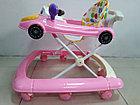 Розовые ходунки Машинка на гелевых колесах и задним толкателем, фото 7
