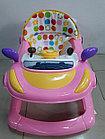 Розовые ходунки Машинка на гелевых колесах и задним толкателем, фото 6