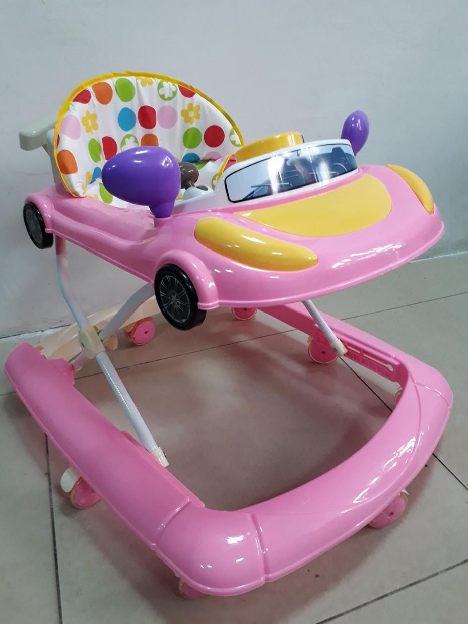 Розовые ходунки Машинка на гелевых колесах и задним толкателем