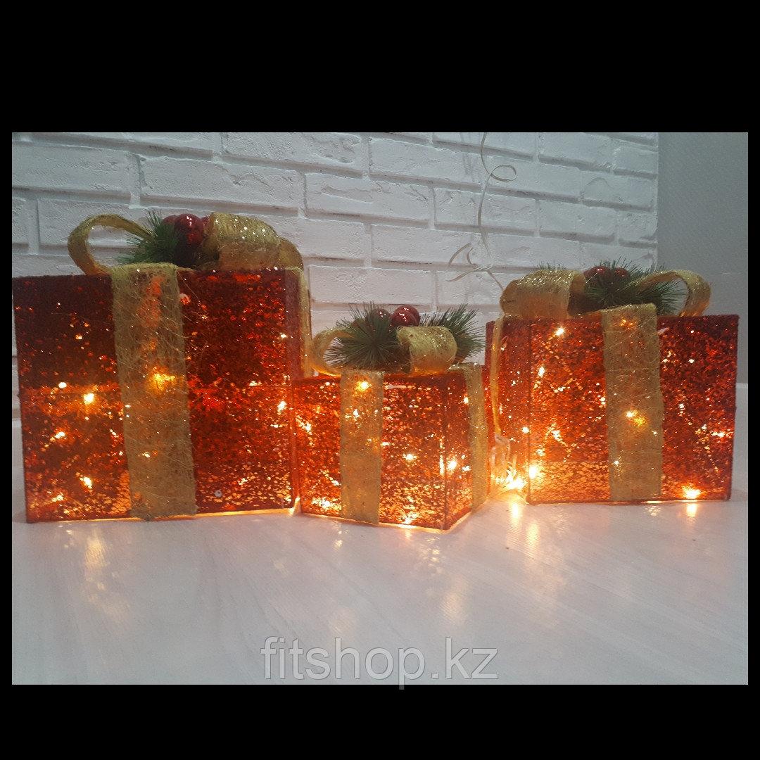 """Новогодняя светодиодная фигура """"Подарки"""" с золотым бантом"""