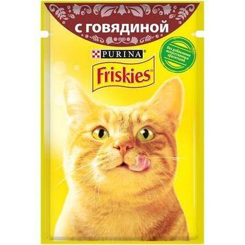 Влажный корм Фрискис для кошек с говядиной в подливе
