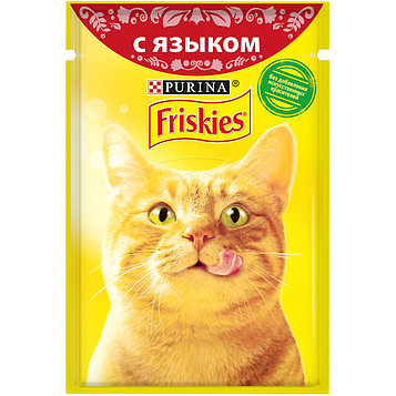 Влажный корм Фрискис для кошек с языком в подливе