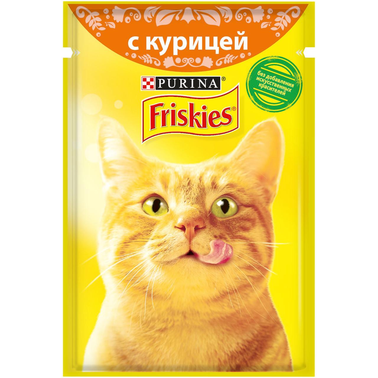 Влажный корм Фрискис для кошек с курицей в подливе