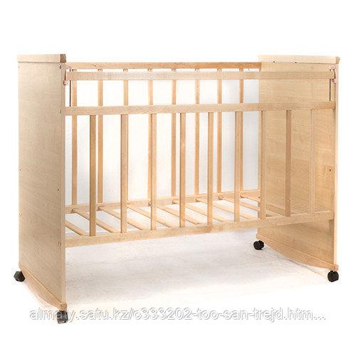 """Кровать детская """"САДКО"""" колесо-качалка цвет береза-белый,слоновая кость-бежевый"""